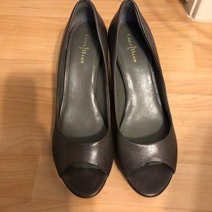 Cole haan gray peep toe wedges - 9